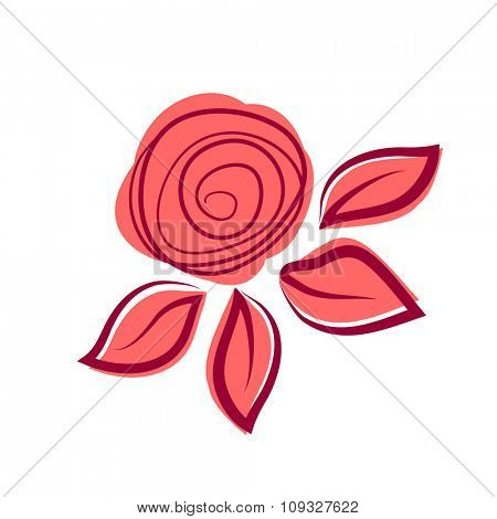 Abstract exotic rose flower. Logotype design for flower shop, beauty salon, travel agency and other