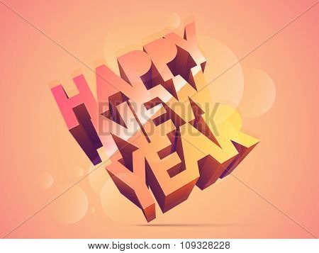 3D glossy text Happy New Year on shiny background.