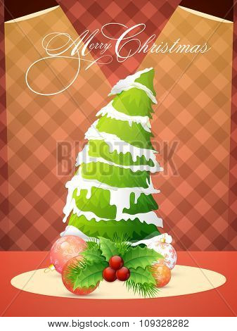 Flyer, Banner or Pamphlet with creative Xmas Tree and glossy ornaments for Merry Christmas celebration.