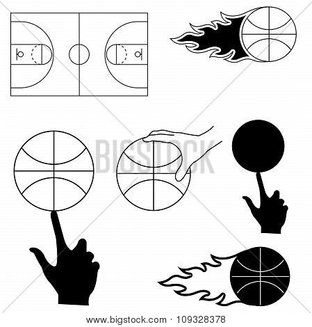 set of sports image for basketball