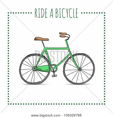 Hand Drawn Bicycle On White Background. Vector Image.