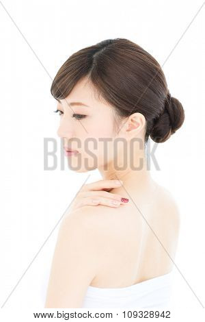 Beautiful asian woman isolated on white background