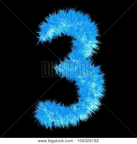 Concept or conceptual 3D blue or ice frost or frozen grass cool font part of collection isolated on black background
