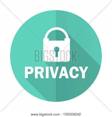 privacy blue web flat design circle icon on white background