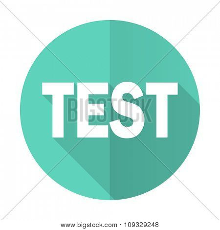 test blue web flat design circle icon on white background