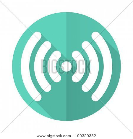 wifi blue web flat design circle icon on white background