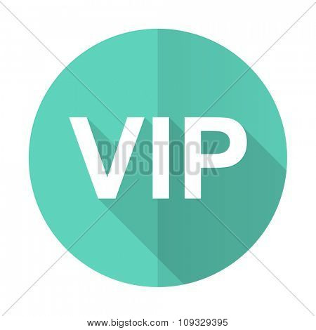 vip blue web flat design circle icon on white background