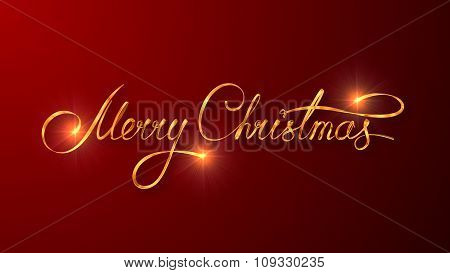 Gold Text Design Of Merry Christmas On Red Color Background