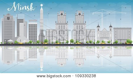 Minsk skyline with grey buildings, blue sky and reflections. Business travel and tourism concept with place for text. Image for presentation, banner, placard and web site.