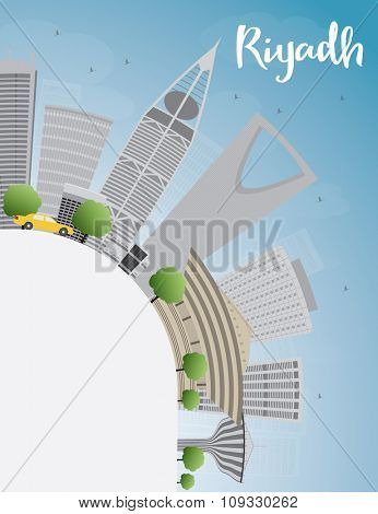 Riyadh skyline with grey buildings and blue sky.Business and tourism concept with skyscrapers. Image for presentation, banner, placard or web site