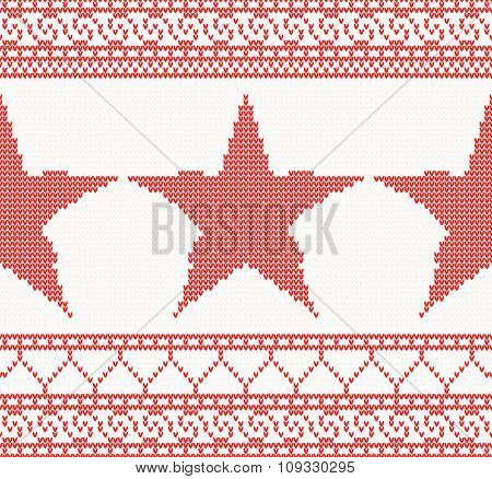 Christmas Knitted background with star and ornament. Christmas concept for banner, placard, billboard or web site. New Year retro greeting card. Image for invitation
