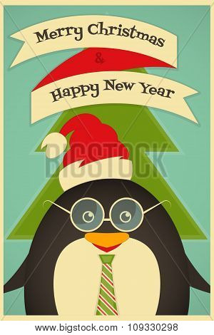 Merry Christmas Greetings With Penguin