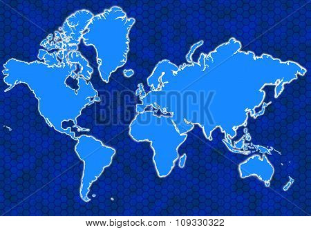 Blue Global Map With Hexagons And Glowing Continents