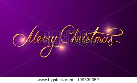 Gold Text Design Of Merry Christmas On Purple Color Background