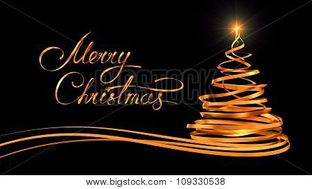 Gold Text Design Of Merry Christmas And Christmas Tree From Gold Tapes Over Black Background