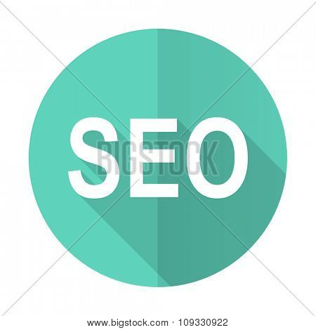 seo blue web flat design circle icon on white background