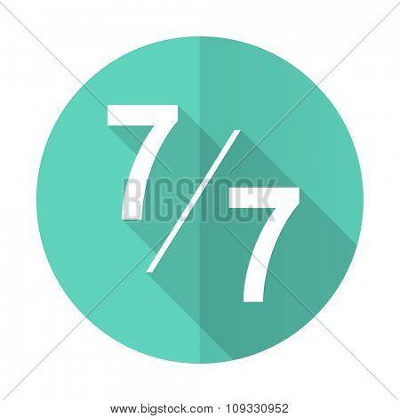 7 per 7 blue web flat design circle icon on white background