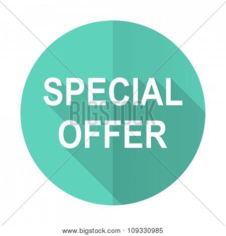 special offer blue web flat design circle icon on white background