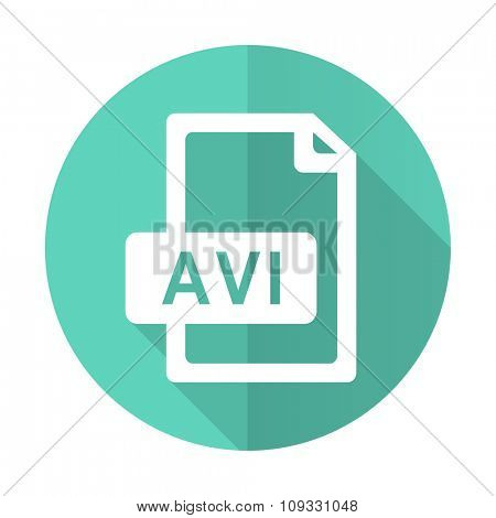 avi file blue web flat design circle icon on white background
