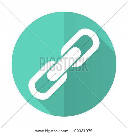 link blue web flat design circle icon on white background