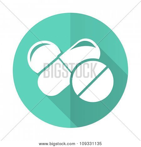 medicine blue web flat design circle icon on white background