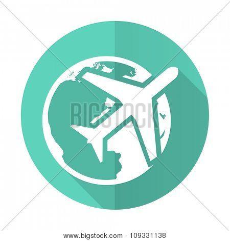 travel blue web flat design circle icon on white background