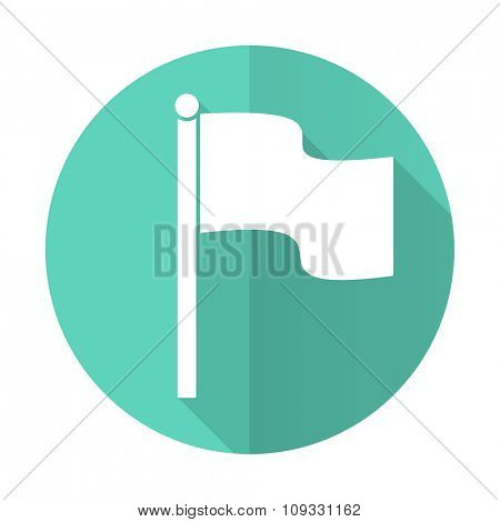 flag blue web flat design circle icon on white background