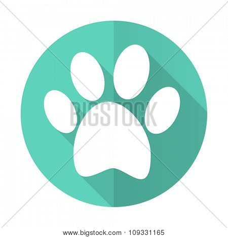 foot blue web flat design circle icon on white background