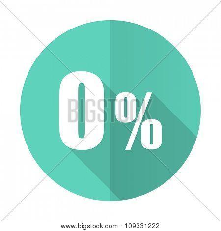0 percent blue web flat design circle icon on white background