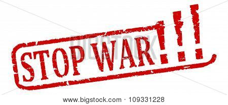 Damaged Oval Red Stamp With The Words Stop The War - Illustration