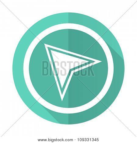 navigation blue web flat design circle icon on white background