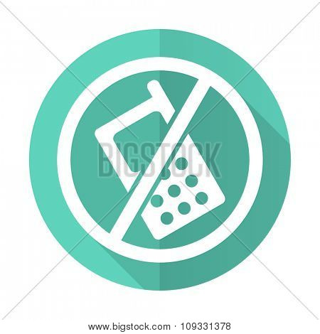 no phone blue web flat design circle icon on white background