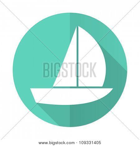 yacht blue web flat design circle icon on white background