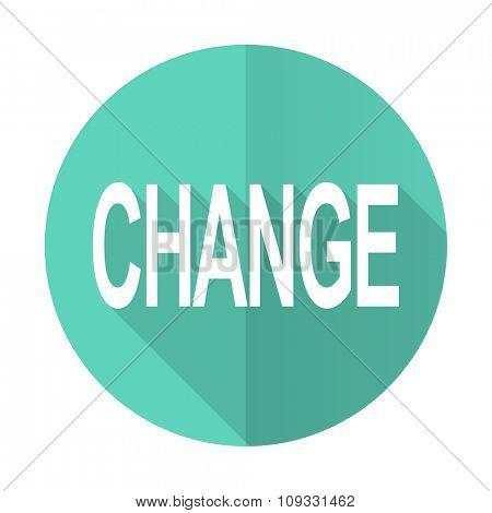change blue web flat design circle icon on white background