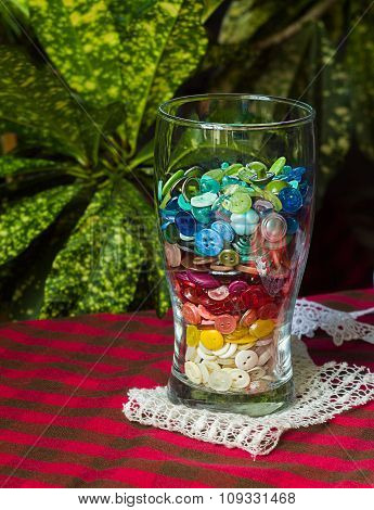 Glass Cup With Colored Buttons