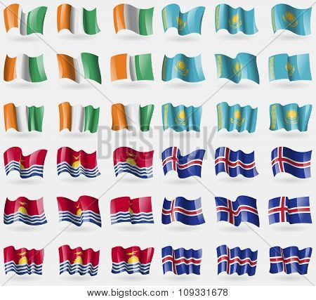 Cote Divoire, Kazakhstan, Kiribati, Iceland. Set Of 36 Flags Of The Countries Of The World.