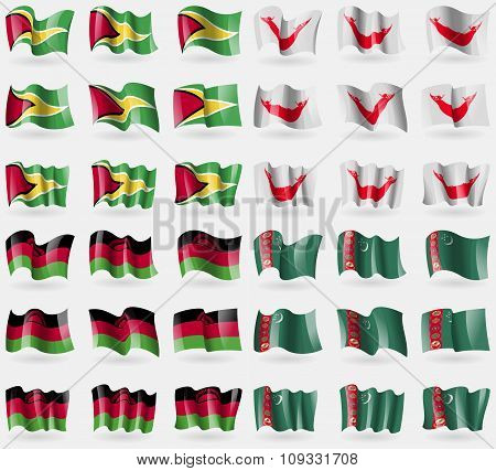 Guyana, Eastar Rapa Nui, Malawi, Turkmenistan. Set Of 36 Flags Of The Countries Of The World.