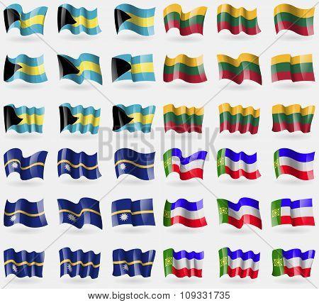 Bahamas, Lithuania, Nauru, Khakassia. Set Of 36 Flags Of The Countries Of The World.