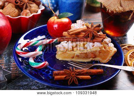 Slice Of Homemade Christmas Apple Pie