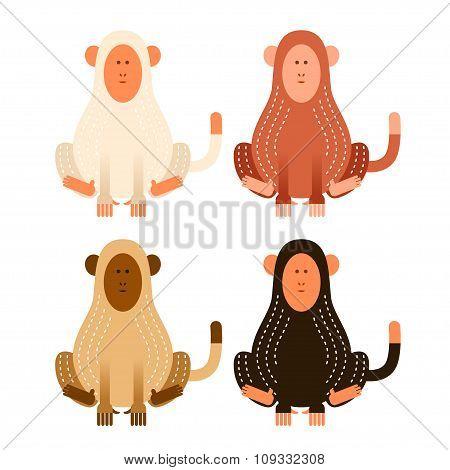 Flat cartoon monkeys