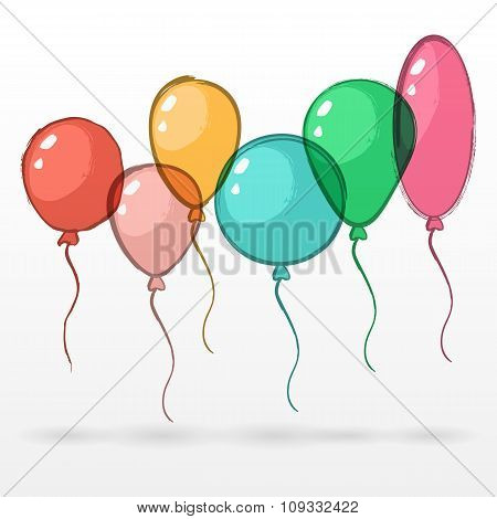 Vector Set Of Watercolor Colorful Air Balloons On White Background.