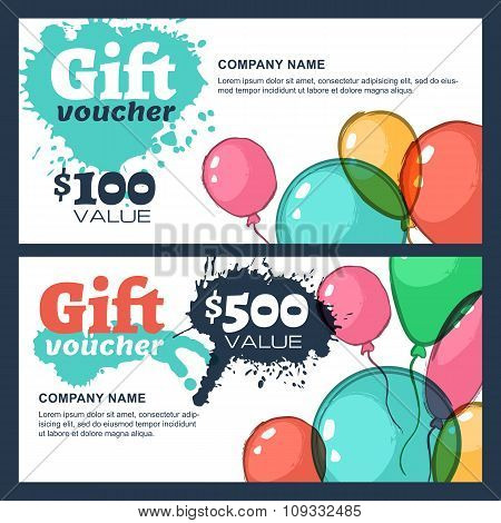 Vector Gift Voucher With Watercolor Air Balloons.