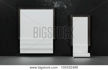 Paper Poster In Empty Concrete Wall ,concept Presentation ,mock Up,business Presentation Template