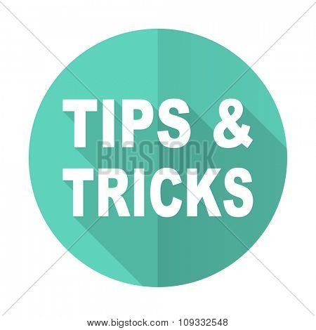 tips tricks blue web flat design circle icon on white background