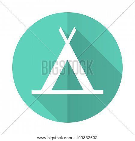 camp blue web flat design circle icon on white background