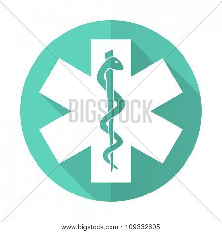 emergency blue web flat design circle icon on white background