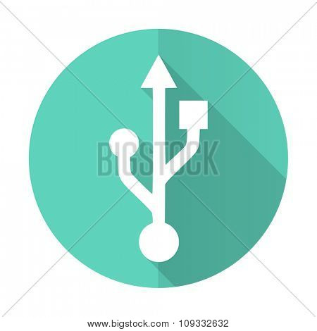 usb blue web flat design circle icon on white background