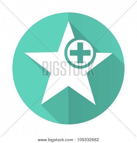 star blue web flat design circle icon on white background