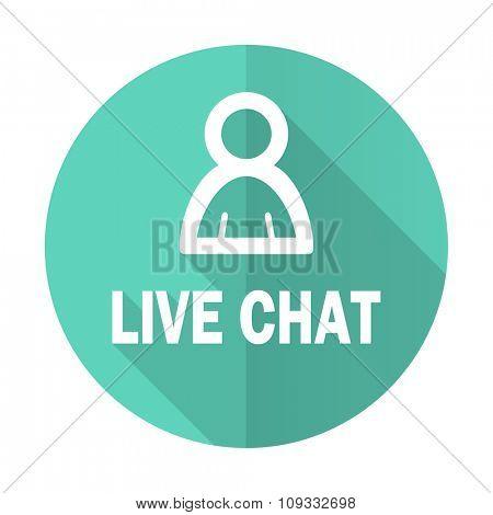 live chat blue web flat design circle icon on white background