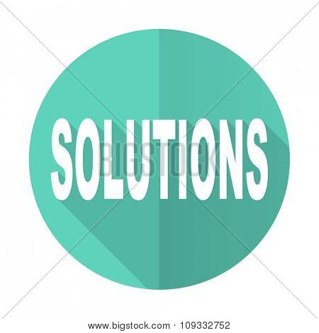 solutions blue web flat design circle icon on white background